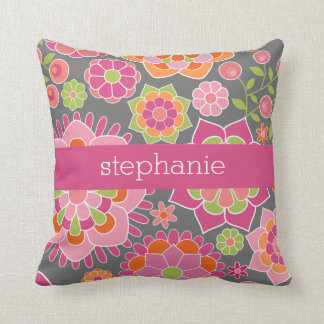 Colorful Spring Floral Pattern Custom Name Throw Pillow
