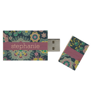 Colorful Spring Floral Pattern Custom Name Wood Flash Drive
