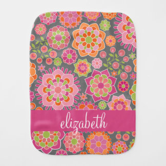 Colorful Spring Floral Pattern Custom Name Burp Cloth