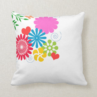 Colorful Spring Floral Throw Pillow