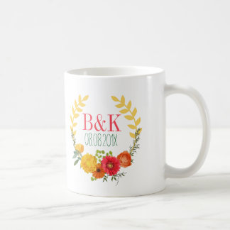 Colorful Spring Floral Wreath- Save The Date Coffee Mug