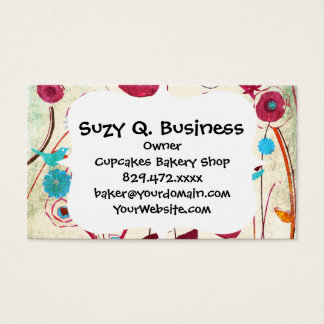 Colorful Spring Flowers Birds Mulberry Blue Orange Business Card
