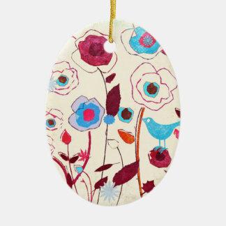 Colorful Spring Flowers Birds Mulberry Blue Orange Ceramic Ornament