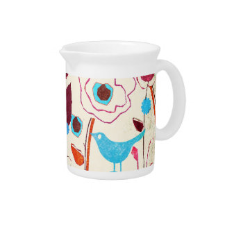 Colorful Spring Flowers Birds Mulberry Blue Orange Drink Pitchers
