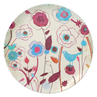 Colorful Spring Flowers Birds Mulberry Blue Orange Dinner Plates
