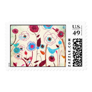 Colorful Spring Flowers Birds Mulberry Blue Orange Postage Stamps