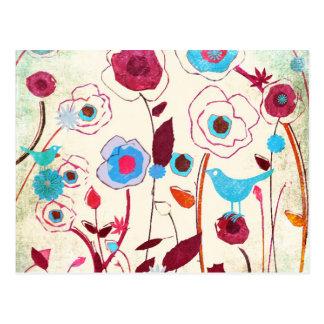 Colorful Spring Flowers Birds Mulberry Blue Orange Postcard
