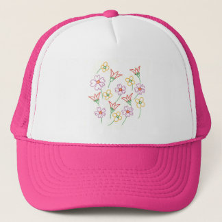 Colorful Spring Flowers Collage Drawing Hats