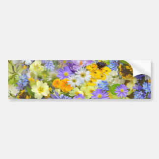 Colorful spring flowers composition bumper sticker