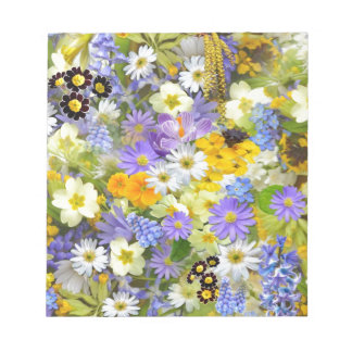 Colorful spring flowers composition memo notepad