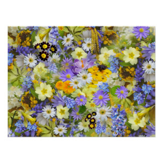 Colorful spring flowers composition poster
