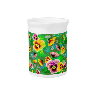 Colorful Spring Flowers Design Pitcher