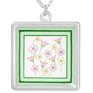 Colorful Spring Flowers Drawing Collage Necklace