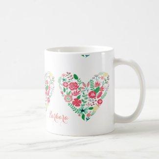 Colorful Spring Flowers Floral Heart Monogram Coffee Mugs