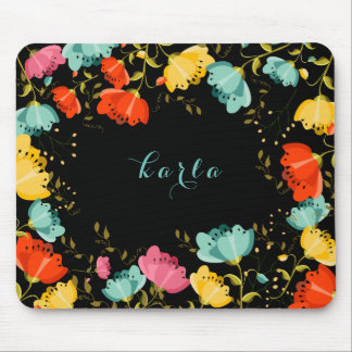 Colorful Spring Flowers Frame Black Background Mouse Pad