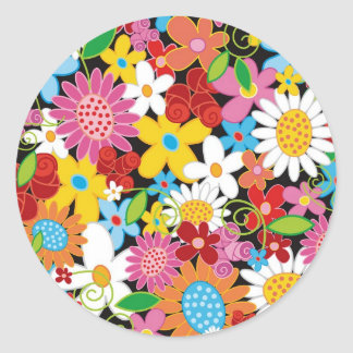 Colorful Spring Flowers Garden Chic Party Sticker