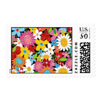 Colorful Spring Flowers Garden Custom Postage