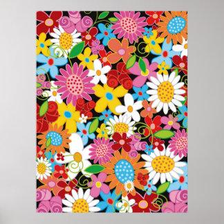 Colorful Spring Flowers Garden Girl Nursery Poster