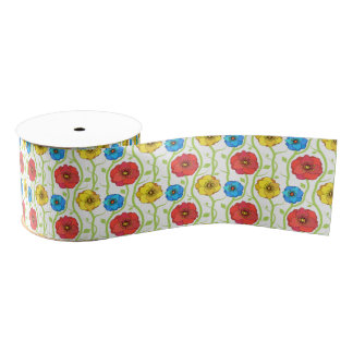Colorful spring flowers grosgrain ribbon