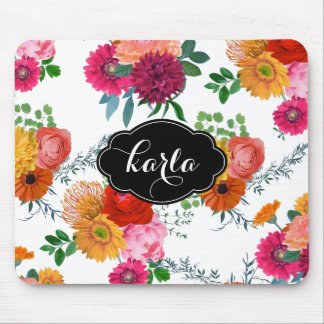 Colorful Spring Flowers Hand Painted Illustration Mouse Pad