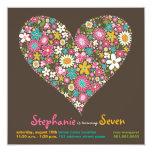 Colorful Spring Flowers Heart Love Birthday Invite Custom Invitation