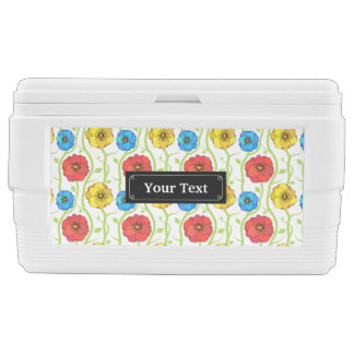 Colorful spring flowers ice chest
