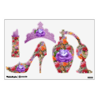 Colorful Spring Flowers Lavender Diamond Roses Wall Decal