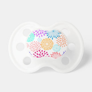 Colorful Spring Flowers Line Art Floral Pattern Pacifier