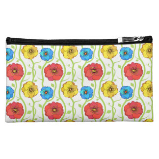 Colorful spring flowers makeup bag