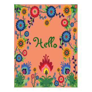 Colorful Spring Flowers Post Card 'Hello'
