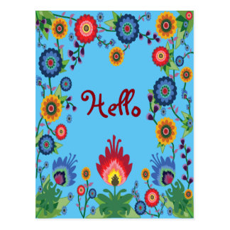 Colorful Spring Flowers Post Card 'Hello' Blue