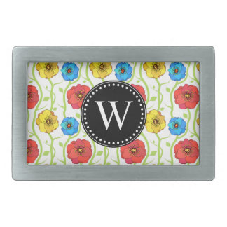 Colorful spring flowers rectangular belt buckle