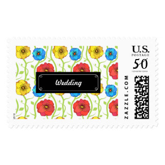 Colorful spring flowers wedding postage
