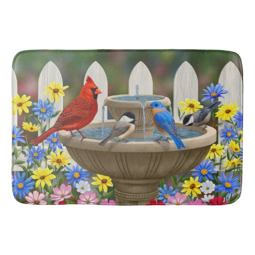 Colorful Spring Garden Bird Bath