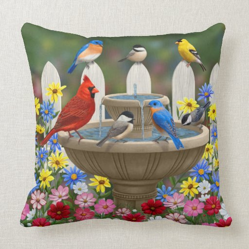 Colorful Spring Garden Bird Bath Throw Pillow