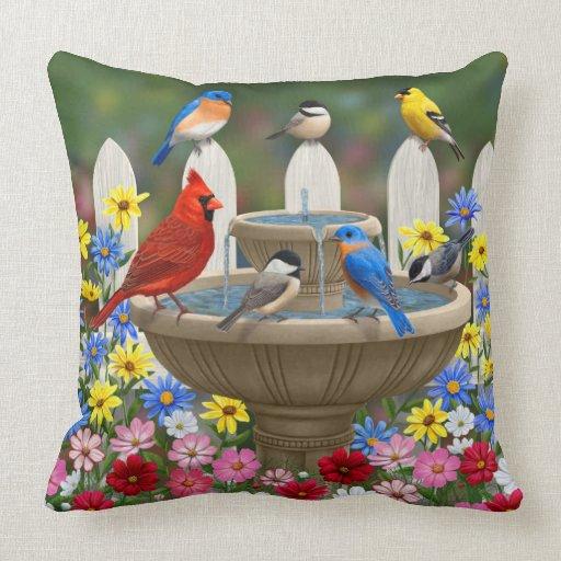 Colorful Spring Garden Bird Bath Throw Pillow