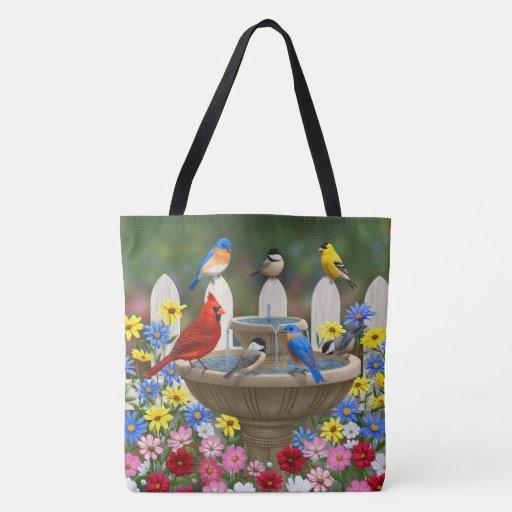 Colorful Spring Garden Bird Bath