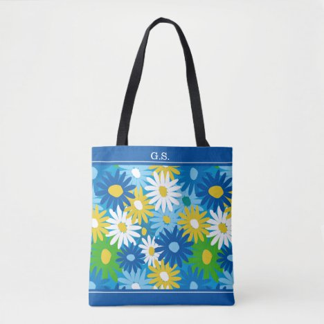 Colorful spring garden daisies monogram tote bag