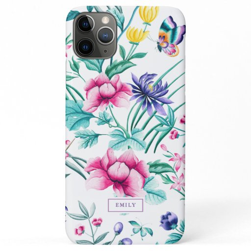 Colorful spring garden flowers & butterfly's patte iPhone 11 pro max case