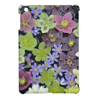 Colorful spring helleborus flowers pattern iPad mini cover