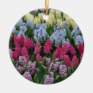 Colorful spring hyacinths ceramic ornament