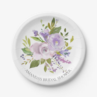 "Colorful Spring Lavender Flowers Shower 7"" Plate"