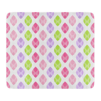 Colorful Spring Leaves Pink Green Purple Pattern Cutting Board
