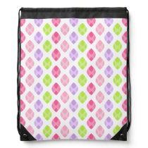 Colorful Spring Leaves Pink Green Purple Pattern Drawstring Backpack