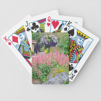 Colorful spring petunia garden bicycle playing cards