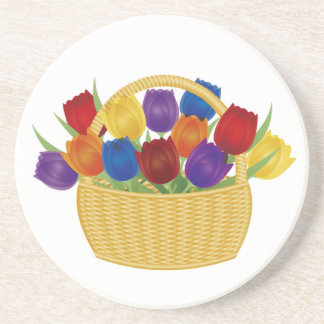 Colorful Spring Tulip Flowers Coaster