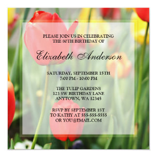 """Colorful Spring Tulips 80th Birthday Party 5.25"""" Square Invitation Card"""