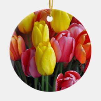 Colorful spring tulips bouquet ceramic ornament