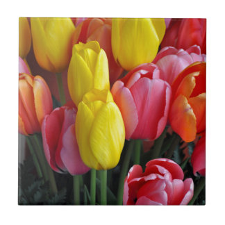 Colorful spring tulips bouquet ceramic tile