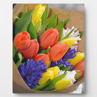 Colorful spring tulips bouquet plaque